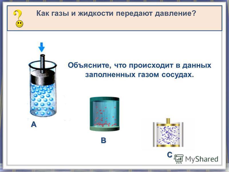 Как газы и жидкости передают давление? Объясните, что происходит в данных заполненных газом сосудах. А В С