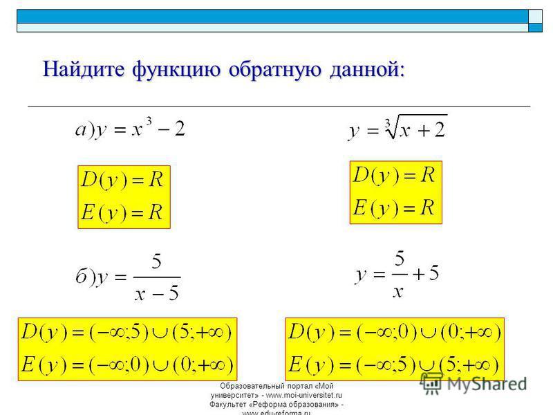 Образовательный портал «Мой университет» - www.moi-universitet.ru Факультет «Реформа образования» - www.edu-reforma.ru Найдите функцию обратную данной: