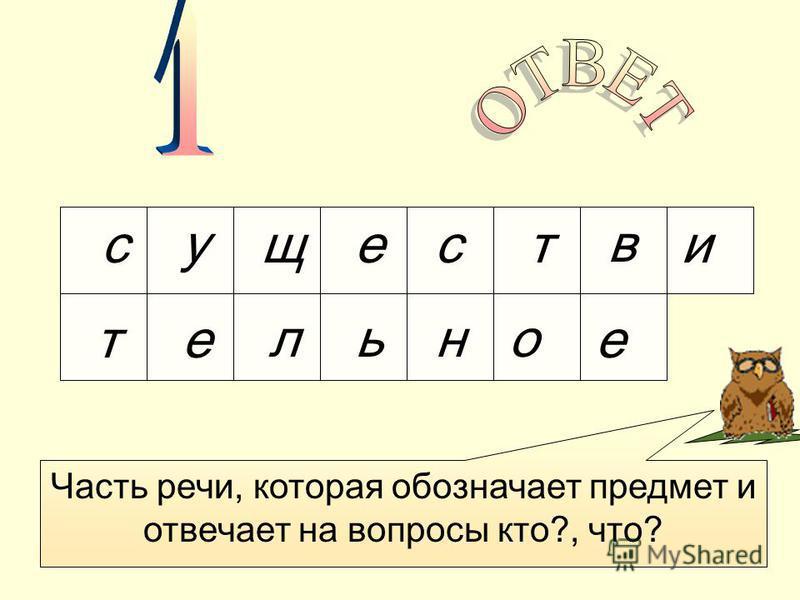 исещ ув ст тельное Часть речи, которая обозначает предмет и отвечает на вопросы кто?, что?