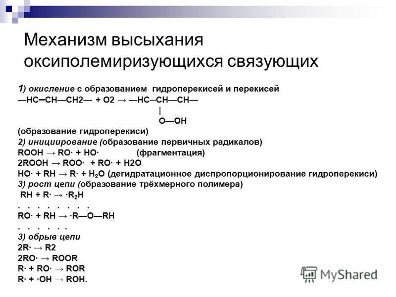 Механизм высыхания оксиполемиризующихся связующих 1 ) окисление с образованием гидроперекисей и перекисей HCCHCH2 + О2 HCCНCH | ОOH (образование гидроперекиси) 2) инициирование (образование первичных радикалов) ROOH RO· + HO· (фрагментация) 2ROOH ROO