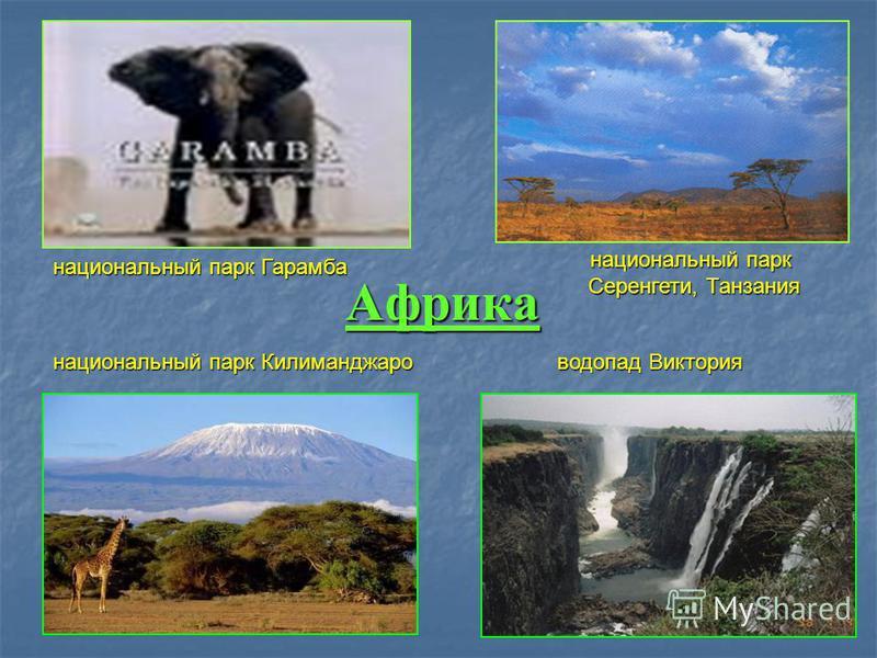 Африка национальный парк Гарамба национальный парк Серенгети, Танзания национальный парк Килиманджаро водопад Виктория