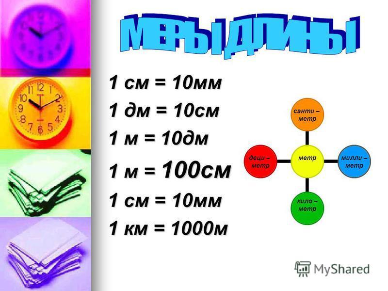 1 см = 10 мм 1 дм = 10 см 1 м = 10 дм 1 м = 100 см 1 см = 10 мм 1 км = 1000 м метр сантиметр милли – метр кило – метр деци – метр