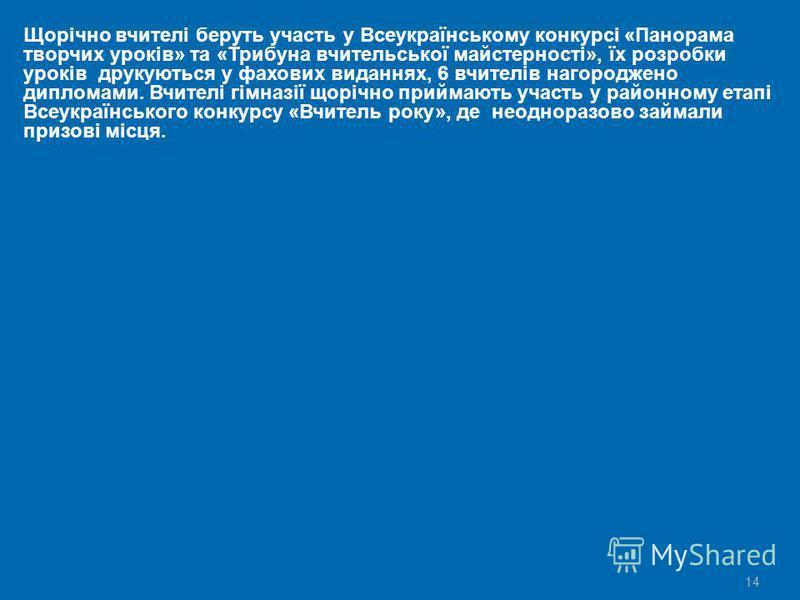 14 Щорічно вчителі беруть участь у Всеукраїнському конкурсі «Панорама творчих уроків» та «Трибуна вчительської майстерності», їх розробки уроків друкуються у фахових виданнях, 6 вчителів нагороджено дипломами. Вчителі гімназії щорічно приймають участ