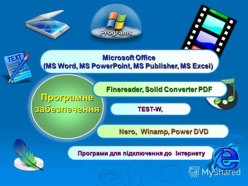 Програмнезабезпечення Finereader, Solid Converter PDF Nero, Winamp, Power DVD Nero, Winamp, Power DVD TEST-W, Microsoft Office (MS Word, MS PowerPoint, MS Publisher, MS Excel) Програми для підключення до Інтернету