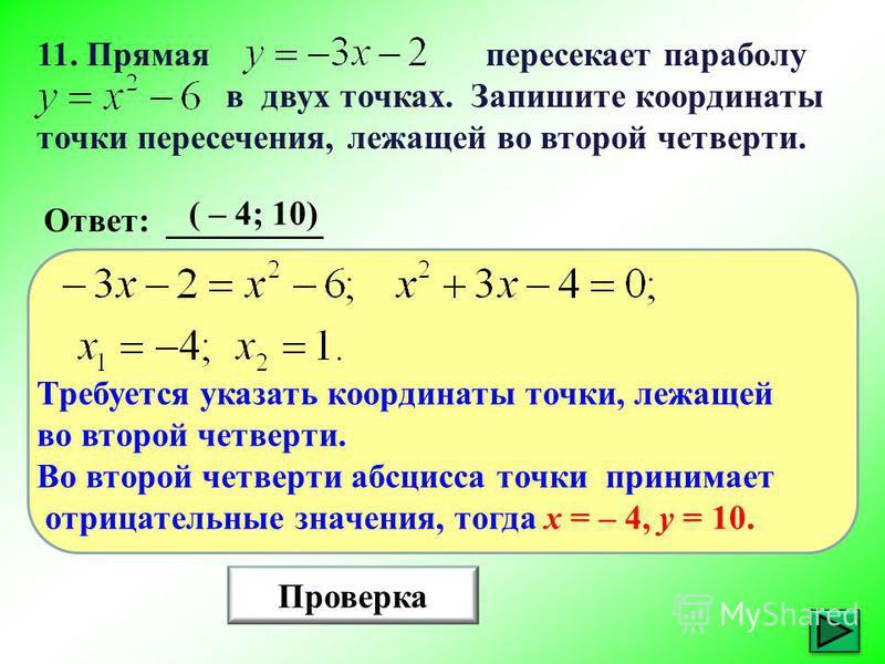 11. Прямая пересекает параболу в двух точках. Запишите координаты точки пересечения, лежащей во второй четверти. Проверка Ответ: _________ ( – 4; 10) Требуется указать координаты точки, лежащей во второй четверти. Во второй четверти абсцисса точки пр
