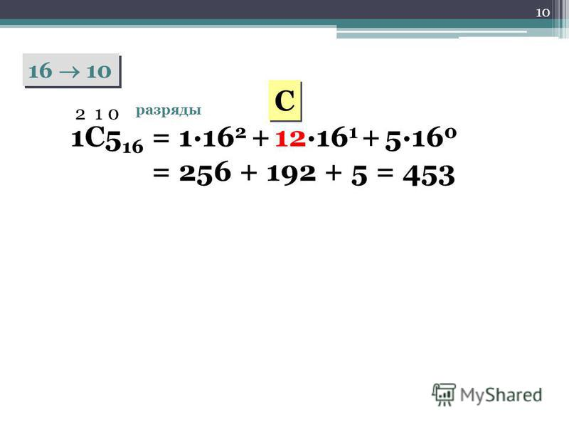 10 16 10 1C5 16 2 1 0 разряды = 1·16 2 + 12·16 1 + 5·16 0 = 256 + 192 + 5 = 453 C C