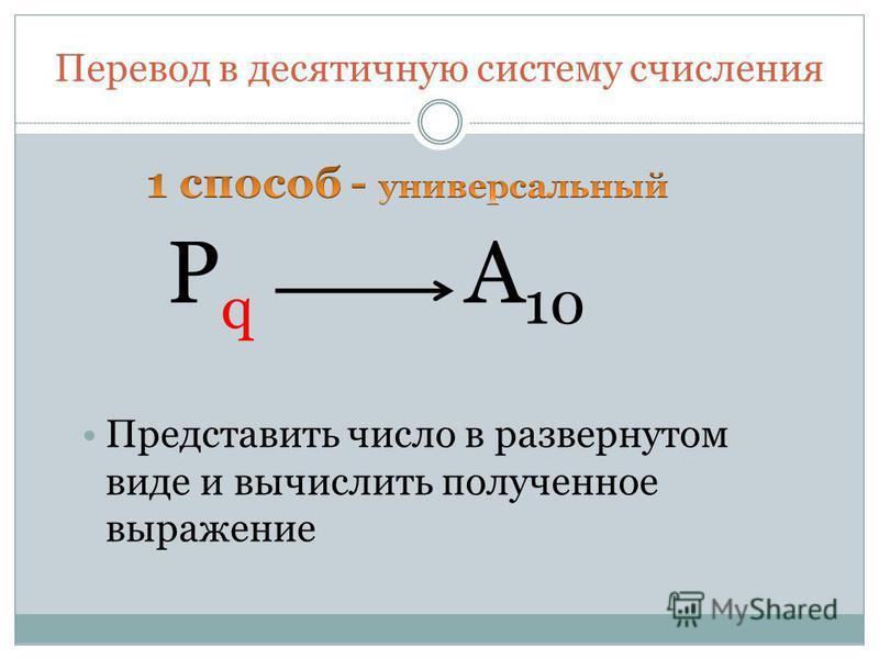 Перевод в десятичную систему счисления P q A 10 Представить число в развернутом виде и вычислить полученное выражение