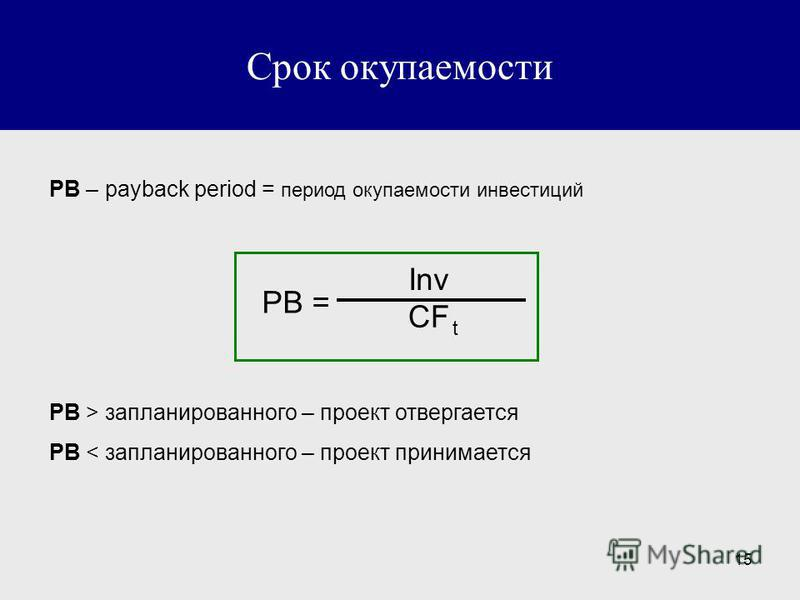 15 Срок окупаемости PB – payback period = период окупаемости инвестиций PB = CF t Inv PB > запланированного – проект отвергается PB < запланированного – проект принимается