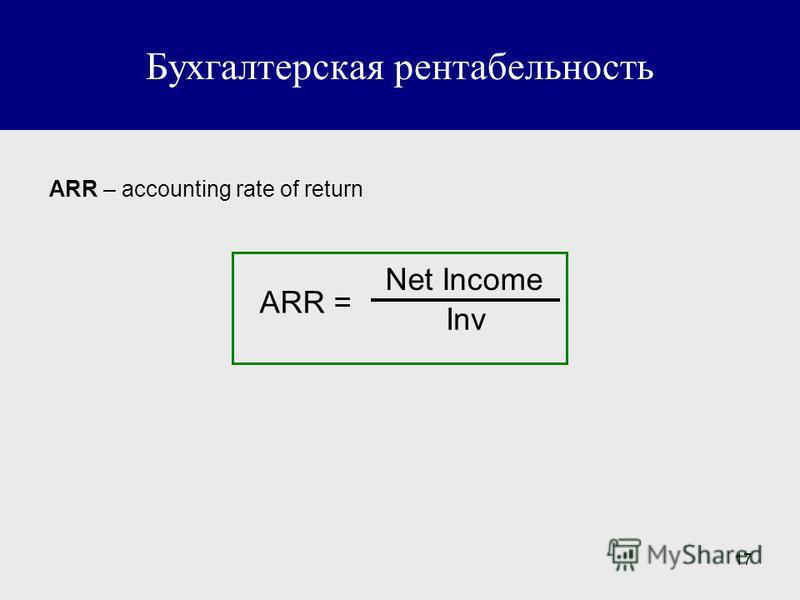 17 Бухгалтерская рентабельность ARR – accounting rate of return ARR = Net Income Inv