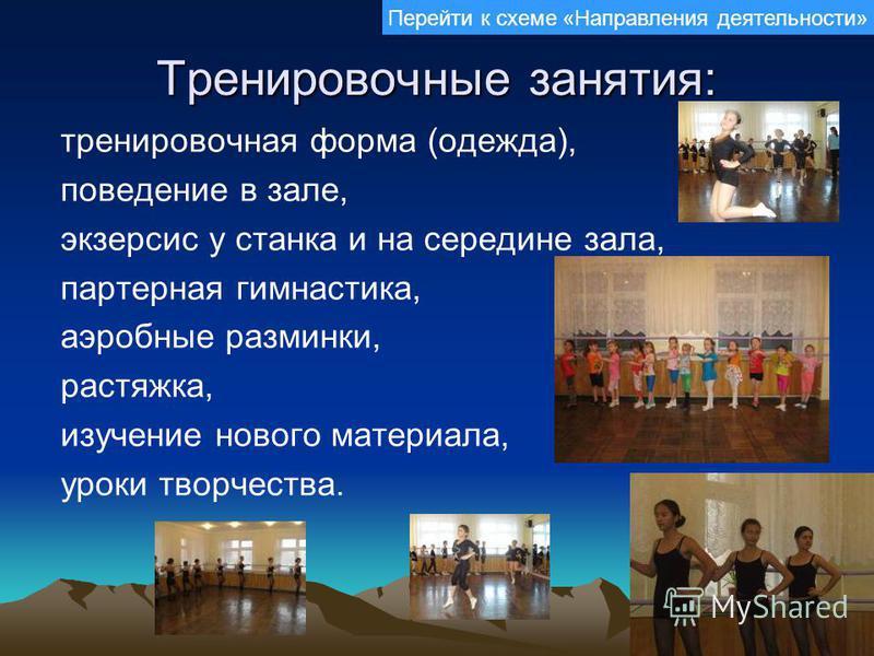 Тренировочные занятия: тренировочная форма (одежда), поведение в зале, экзерсис у станка и на середине зала, партерная гимнастика, аэробные разминки, растяжка, изучение нового материала, уроки творчества. Перейти к схеме «Направления деятельности»