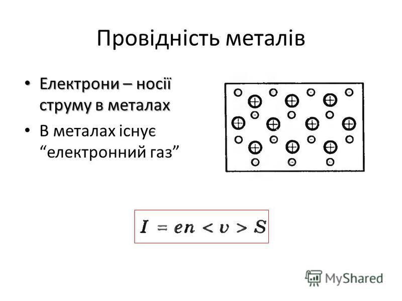 Провідність металів Електрони – носії струму в металах Електрони – носії струму в металах В металах існує електронний газ