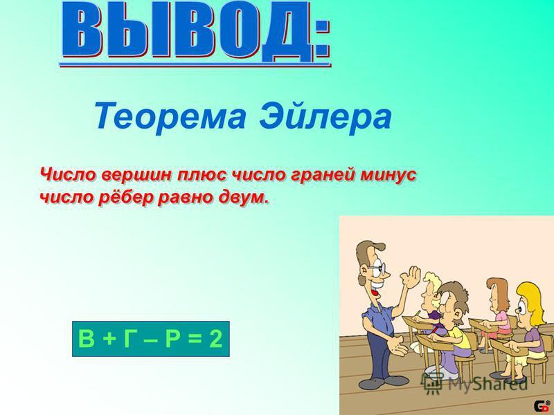 Правильный многогранникник Число граней и вершин (Г + В) рёбер (Р) Тетраэдр 86 Куб 1412 Октаэдр 1412 Додекаэдр 3230 Икосаэдр 3230