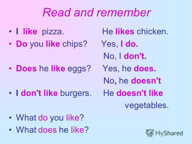 Read and remember I like pizza. He likes chicken. Do you like chips? Yes, I do. No, I don't. Does he like eggs? Yes, he does. No, he doesn't I don't like burgers. He doesn't like vegetables. What do you like? What does he like?