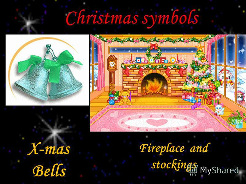 Fireplace and stockings X-mas Bells