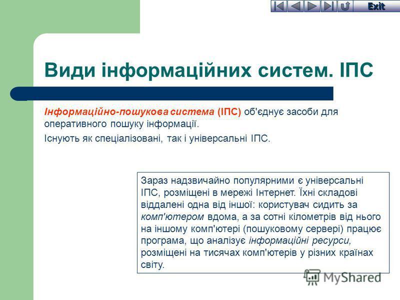 Exit Види інформаційних систем. ІПС Інформаційно-пошукова система (ІПС) об'єднує засоби для оперативного пошуку інформації. Існують як спеціалізовані, так і універсальні ІПС. Зараз надзвичайно популярними є універсальні ІПС, розміщені в мережі Інтерн