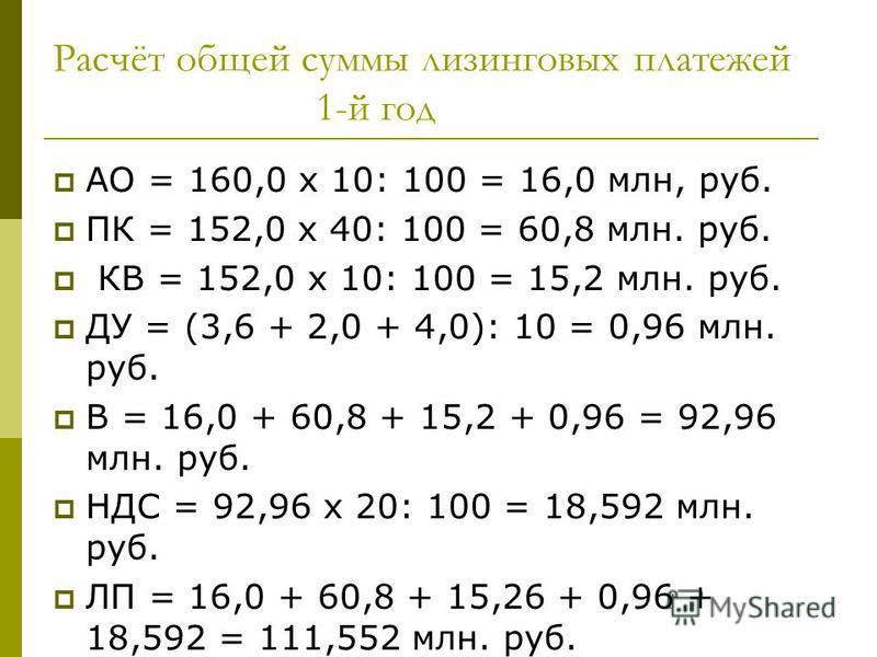 Расчёт общей суммы лизинговых платежей 1-й год АО = 160,0 х 10: 100 = 16,0 млн, руб. ПК = 152,0 х 40: 100 = 60,8 млн. руб. КВ = 152,0 х 10: 100 = 15,2 млн. руб. ДУ = (3,6 + 2,0 + 4,0): 10 = 0,96 млн. руб. В = 16,0 + 60,8 + 15,2 + 0,96 = 92,96 млн. ру