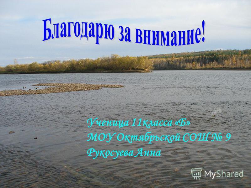 Ученица 11 класса «Б» МОУ Октябрьской СОШ 9 Рукосуева Анна