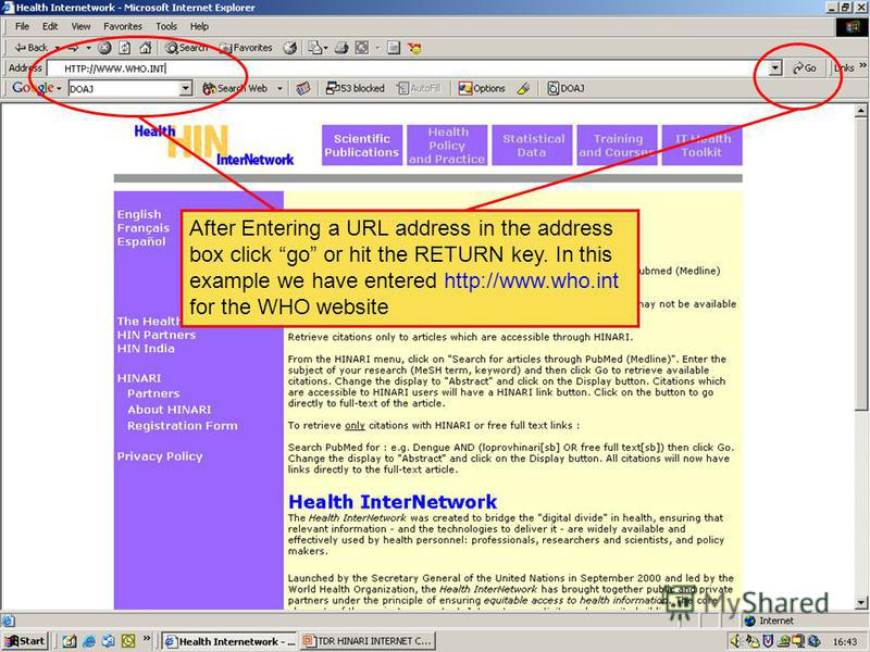 Entering a URL address in the address box After Entering a URL address in the address box click go or hit the RETURN key. In this example we have entered http://www.who.int for the WHO website
