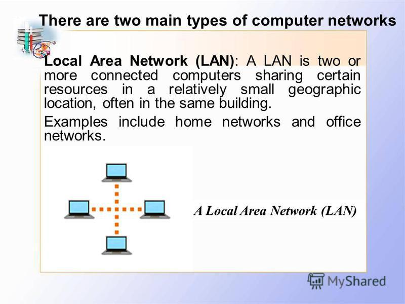 Local Area Network (LAN): A LAN is two or more connected computers sharing certain resources in a relatively small geographic location, often in the same building. Examples include home networks and office networks. There are two main types of comput