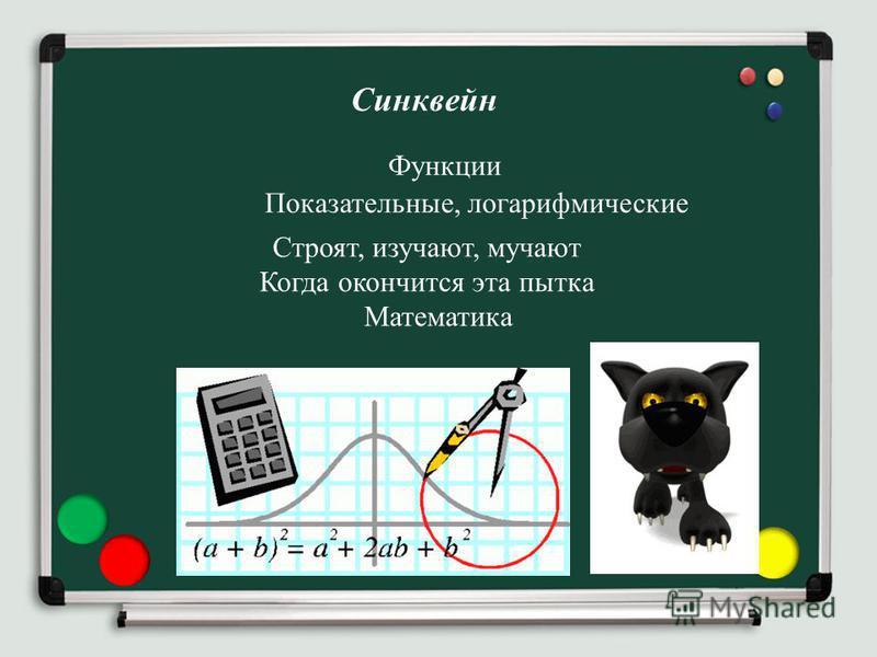 Синквейн Функции Показательные, логарифмические Строят, изучают, мучают Когда окончится эта пытка Математика