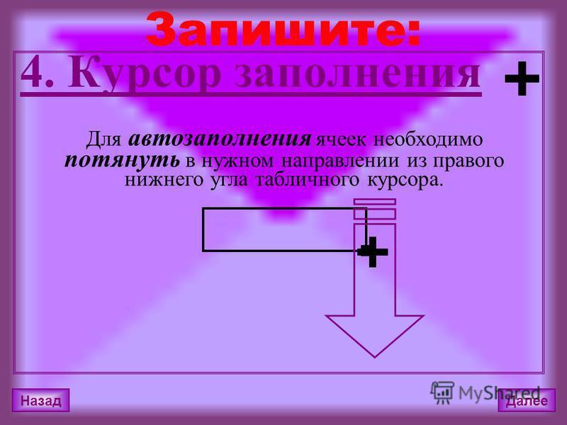 Назад Далее 4. Курсор заполнения Запишите: Для автозаполнения ячеек необходимо потянуть в нужном направлении из правого нижнего угла табличного курсора.