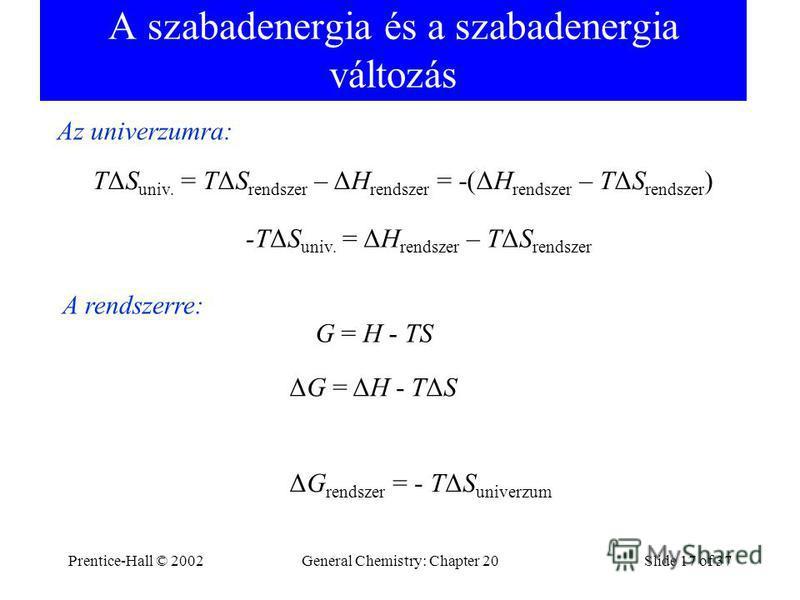 Prentice-Hall © 2002General Chemistry: Chapter 20Slide 17 of 37 A szabadenergia és a szabadenergia változás TΔS univ. = TΔS rendszer – ΔH rendszer = -(ΔH rendszer – TΔS rendszer ) -TΔS univ. = ΔH rendszer – TΔS rendszer G = H - TS ΔG = ΔH - TΔS Az un