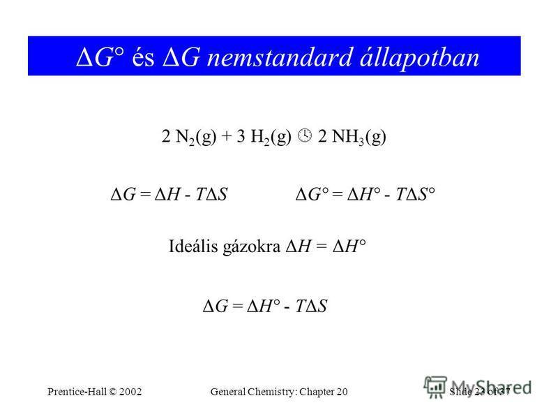 Prentice-Hall © 2002General Chemistry: Chapter 20Slide 23 of 37 ΔG° és ΔG nemstandard állapotban 2 N 2 (g) + 3 H 2 (g) 2 NH 3 (g) ΔG = ΔH - TΔSΔG° = ΔH° - TΔS° Ideális gázokra ΔH = ΔH° ΔG = ΔH° - TΔS