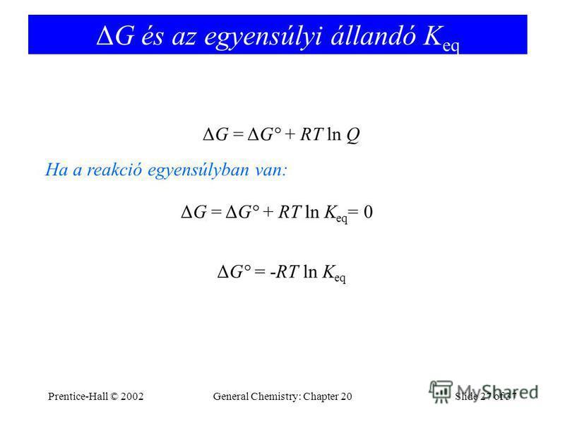 Prentice-Hall © 2002General Chemistry: Chapter 20Slide 27 of 37 ΔG és az egyensúlyi állandó K eq ΔG = ΔG° + RT ln Q ΔG = ΔG° + RT ln K eq = 0 Ha a reakció egyensúlyban van: ΔG° = -RT ln K eq