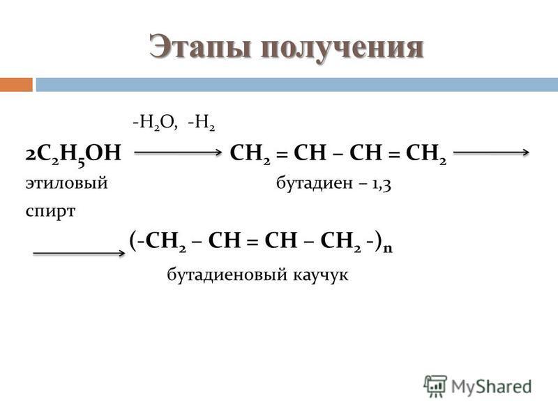 Этапы получения -Н 2 О, -Н 2 2С 2 Н 5 ОН СН 2 = СН – СН = СН 2 этиловый бутадиен – 1,3 спирт (-СН 2 – СН = СН – СН 2 -) n бутадиеновый каучук