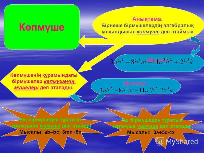 Көпмүше Анықтама. Бірнеше бірмүшелердің алгебралық қосындысын көпмүше деп атаймыз. Мысалы: Көпмүшенің құрамындағы бірмүшелер көпмүшенің мүшелері деп аталады. Мысалы: Екі бірмүшеден тұратын көпмүшені екімүше деп атайды Мысалы: аb–bc; 3mn+5n. Үш бірмүш