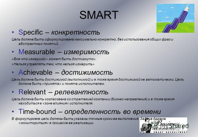 SMART Specific – конкретность Цель должна быть сформулирована максимально конкретно, без использования общих фраз и абстрактных понятий. Measurable – измеримость «Все что измеримо – может быть достигнуто». «Нельзя управлять тем, что нельзя измерить»