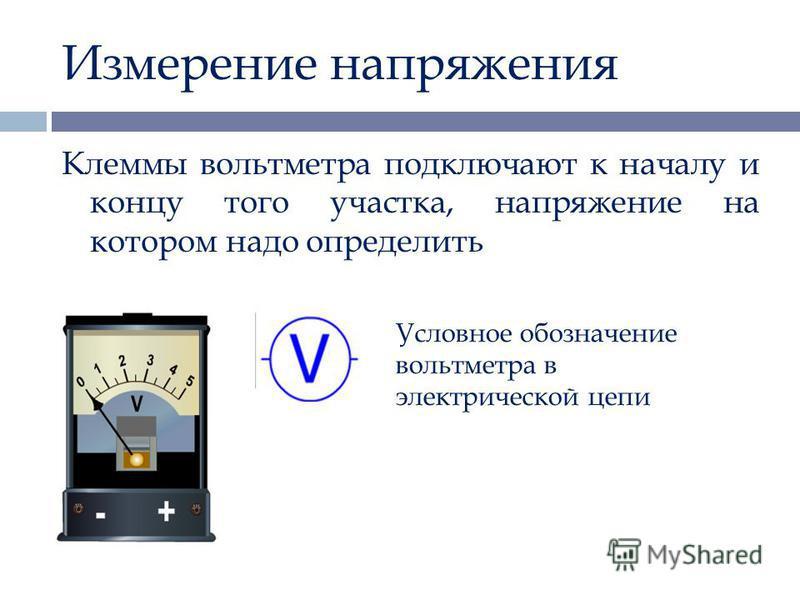 Измерение напряжения Клеммы вольтметра подключают к началу и концу того участка, напряжение на котором надо определить Условное обозначение вольтметра в электрической цепи