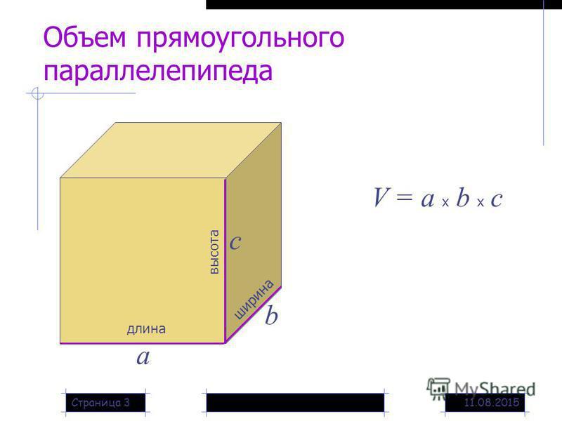 11.08.2015Страница 3 Объем прямоугольного параллелепипеда длина а ширина b высота с V = a x b x c