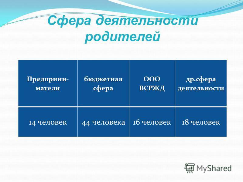 Предприни- матели бюджетная сфера ООО ВСРЖД др.сфера деятельности 14 человек 44 человека 16 человек 18 человек Сфера деятельности родителей