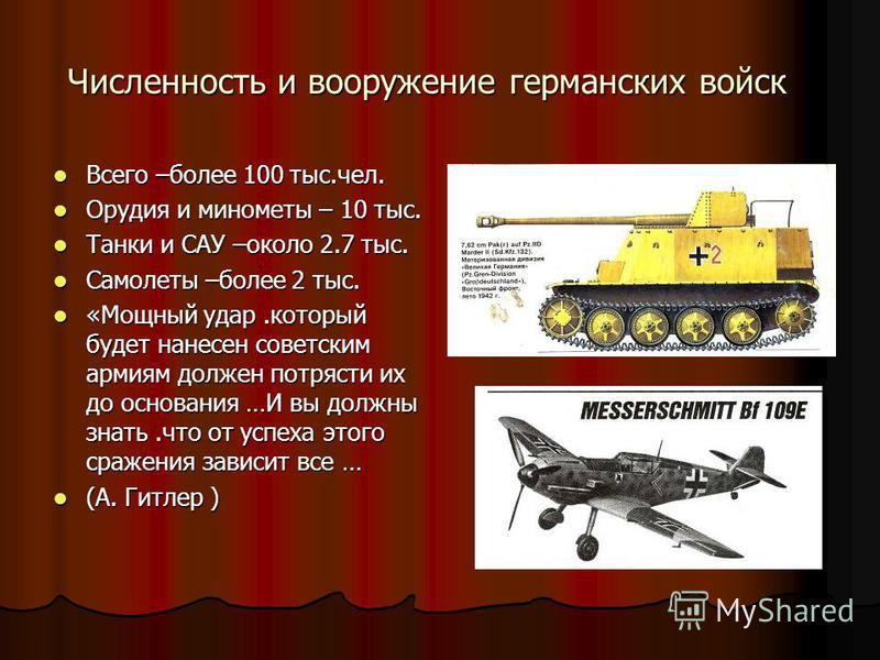 Численность и вооружение германских войск Всего –более 100 тыс.чел. Всего –более 100 тыс.чел. Орудия и минометы – 10 тыс. Орудия и минометы – 10 тыс. Танки и САУ –около 2.7 тыс. Танки и САУ –около 2.7 тыс. Самолеты –более 2 тыс. Самолеты –более 2 тыс