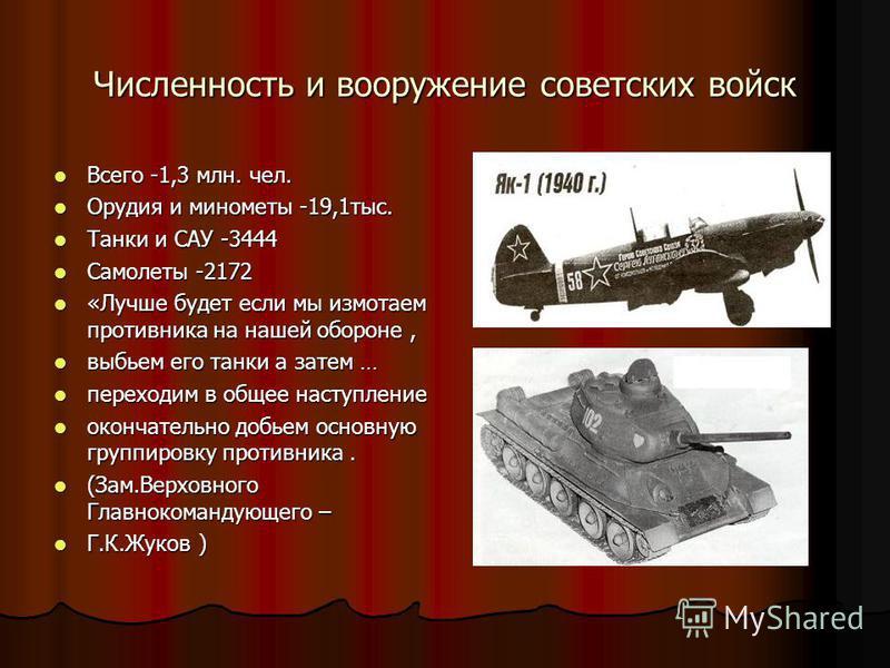 Численность и вооружение советских войск Всего -1,3 млн. чел. Всего -1,3 млн. чел. Орудия и минометы -19,1 тыс. Орудия и минометы -19,1 тыс. Танки и САУ -3444 Танки и САУ -3444 Самолеты -2172 Самолеты -2172 «Лучше будет если мы измотаем противника на