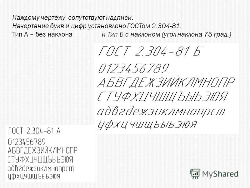 Каждому чертежу сопутствуют надписи. Начертание букв и цифр установлено ГОСТом 2.304-81. Тип А – без наклона и Тип Б с наклоном (угол наклона 75 град.)