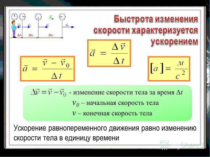 Ускорение равнопеременного движения равно изменению скорости тела в единицу времени - изменение скорости тела за время t v 0 – начальная скорость тела v – конечная скорость тела