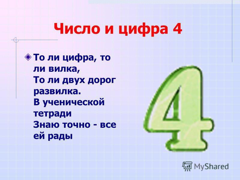 Число и цифра 4 То ли цифра, то ли вилка, То ли двух дорог развилка. В ученической тетради Знаю точно - все ей рады