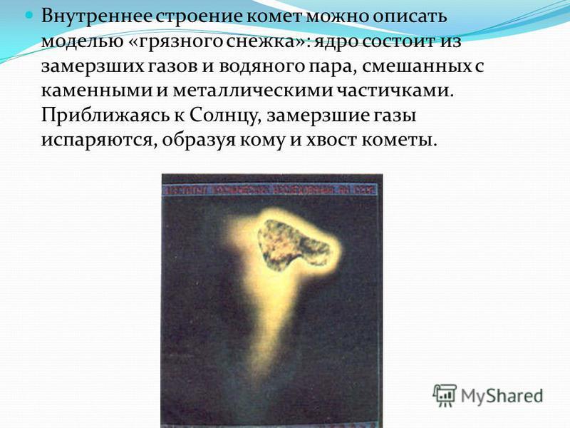 Внутреннее строение комет можно описать моделью «грязного снежка»: ядро состоит из замерзших газов и водяного пара, смешанных с каменными и металлическими частичками. Приближаясь к Солнцу, замерзшие газы испаряются, образуя кому и хвост кометы.