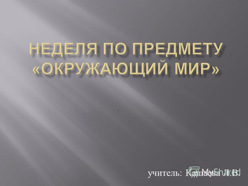 учитель : Кашаева Л. В.