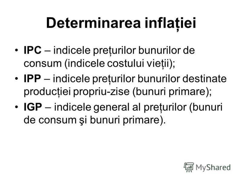Determinarea inflaţiei IPC – indicele preţurilor bunurilor de consum (indicele costului vieţii); IPP – indicele preţurilor bunurilor destinate producţiei propriu-zise (bunuri primare); IGP – indicele general al preţurilor (bunuri de consum şi bunuri