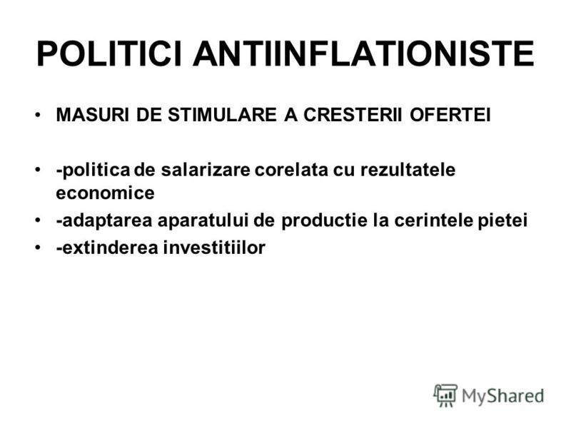 POLITICI ANTIINFLATIONISTE MASURI DE STIMULARE A CRESTERII OFERTEI -politica de salarizare corelata cu rezultatele economice -adaptarea aparatului de productie la cerintele pietei -extinderea investitiilor