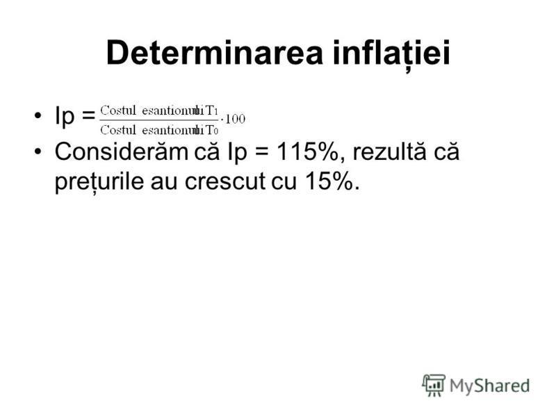 Determinarea inflaţiei Ip = Considerăm că Ip = 115%, rezultă că preţurile au crescut cu 15%.
