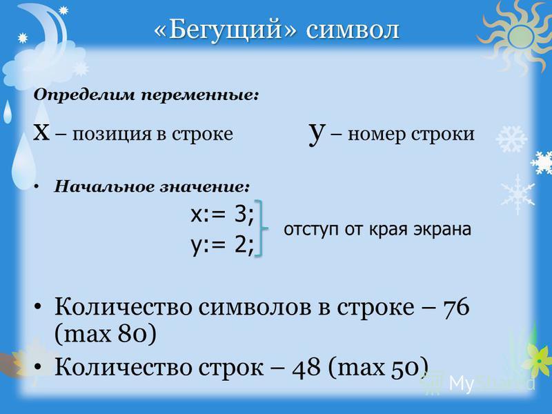 «Бегущий» символ Определим переменные: x – позиция в строке y – номер строки Начальное значение: x:= 3; y:= 2; Количество символов в строке – 76 (max 80) Количество строк – 48 (max 50) отступ от края экрана