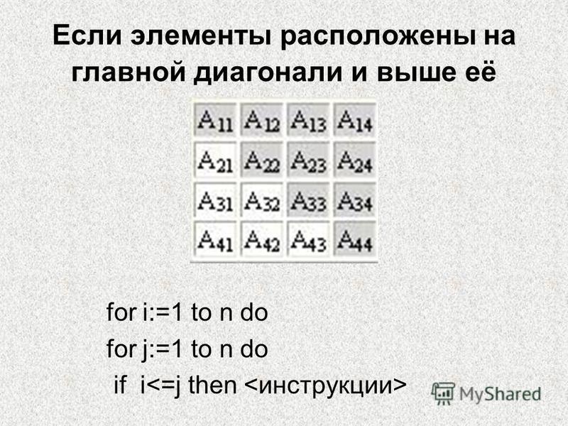 Если элементы расположены на главной диагонали и выше её for i:=1 to n do for j:=1 to n do if i