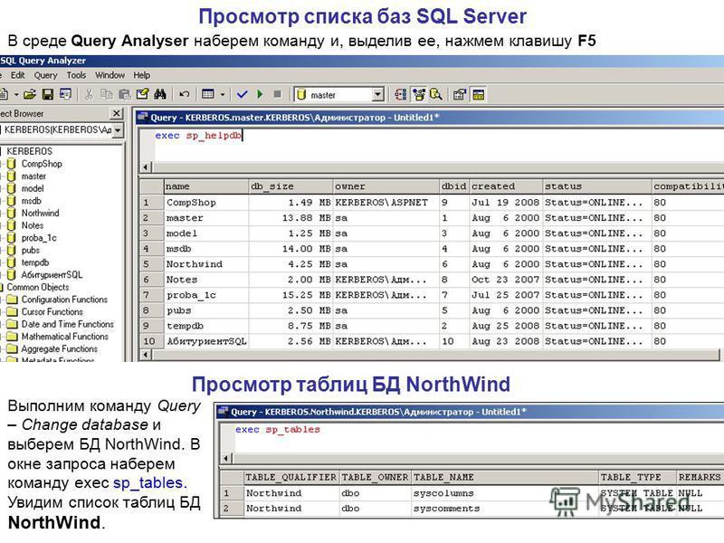 Просмотр списка баз SQL Server Просмотр таблиц БД NorthWind Выполним команду Query – Change database и выберем БД NorthWind. В окне запроса наберем команду exec sp_tables. Увидим список таблиц БД NorthWind. В среде Query Analyser наберем команду и, в
