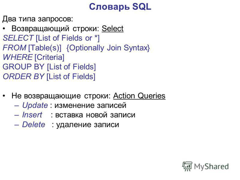 Словарь SQL Два типа запросов: Возвращающий строки: Select SELECT [List of Fields or *] FROM [Table(s)] {Optionally Join Syntax} WHERE [Criteria] GROUP BY [List of Fields] ORDER BY [List of Fields] Не возвращающие строки: Action Queries –Update : изм
