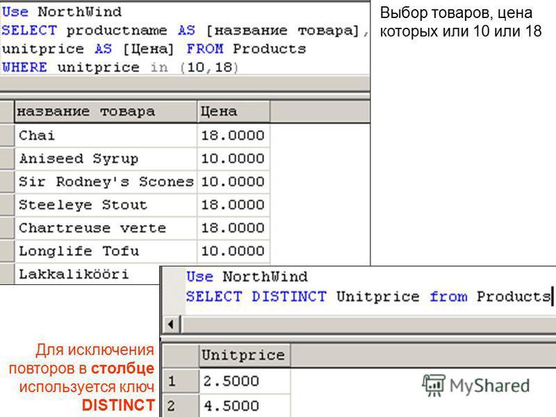 Выбор товаров, цена которых или 10 или 18 Для исключения повторов в столбце используется ключ DISTINCT