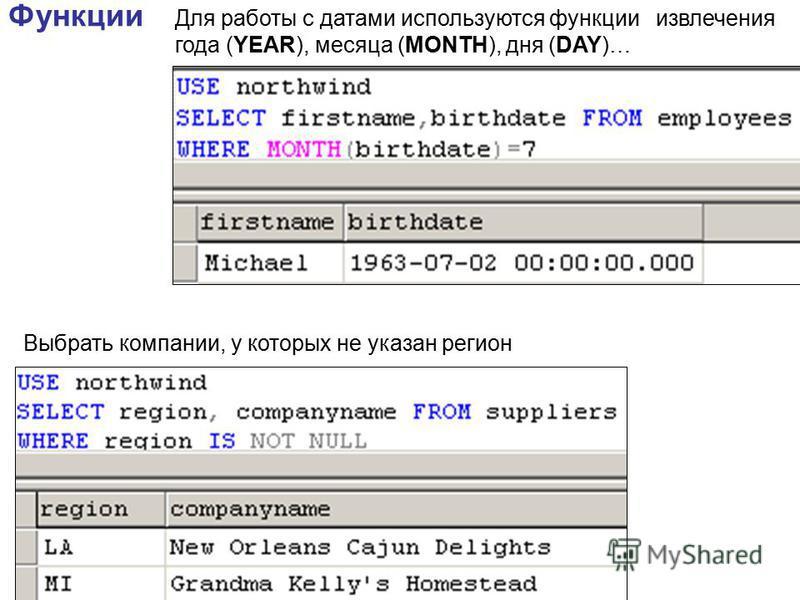 Функции Для работы с датами используются функции извлечения года (YEAR), месяца (MONTH), дня (DAY)… Выбрать компании, у которых не указан регион